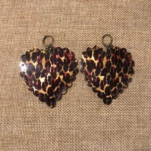 Betsy Johnson leopard print heart earrings